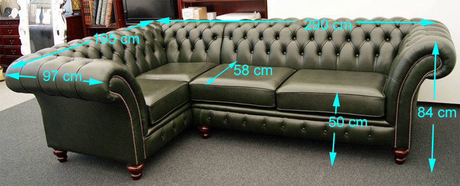 Balmoral corner Chesterfield sizes