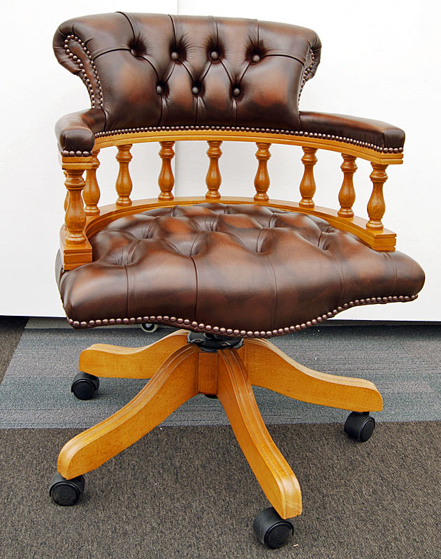 Captains swivel chair antique brown