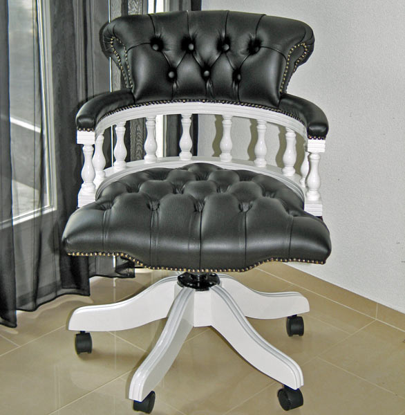 Captains swivel plain painted white black leather