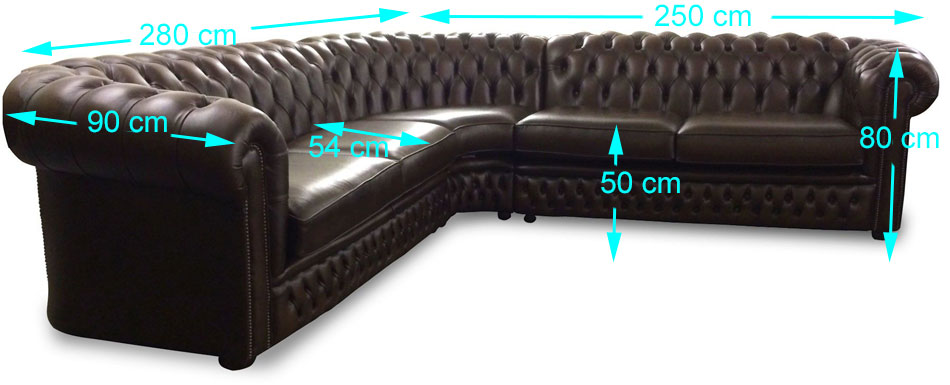 Buckingham corner Chesterfield sizes