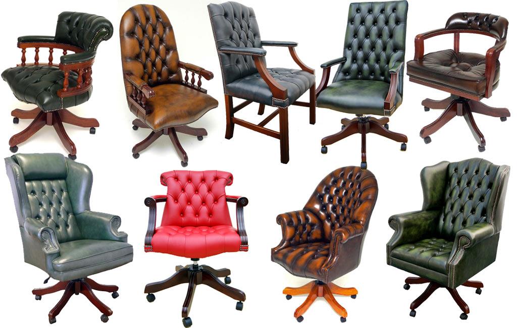 Luxe Leren Bureaustoel.Engelse Klassiek Leren Bureaustoelen In Mahonie Kersen Eiken Of