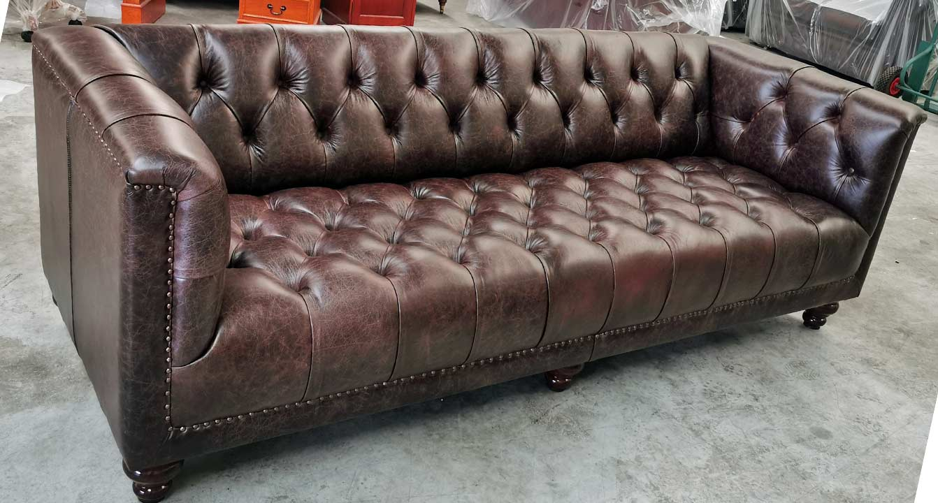 Parliament Chesterfield vintage Rosewood leather