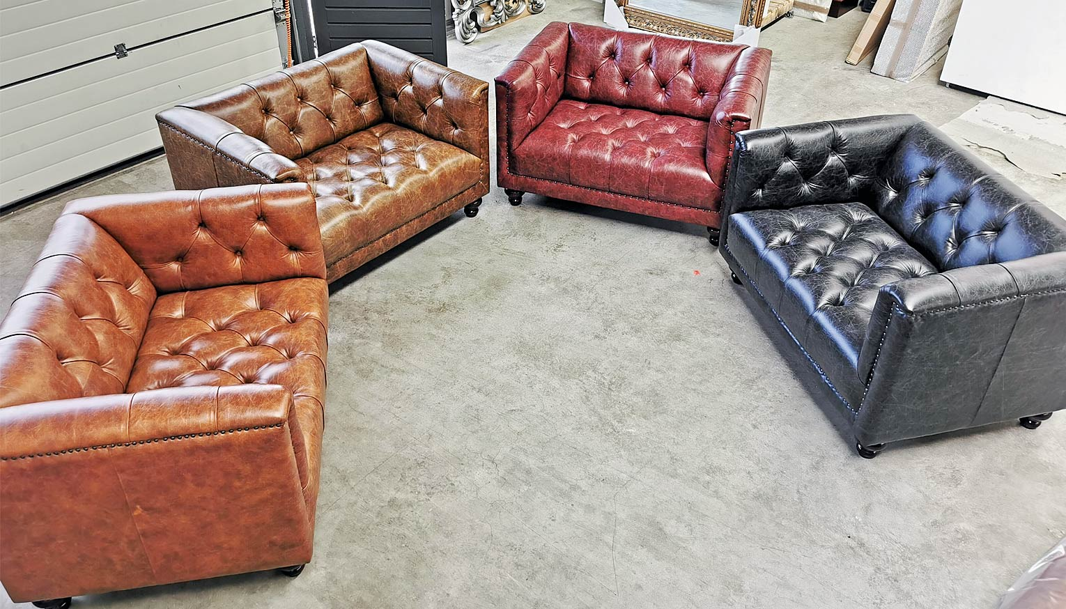 Our Parliament Love Seats in Vintage Leather
