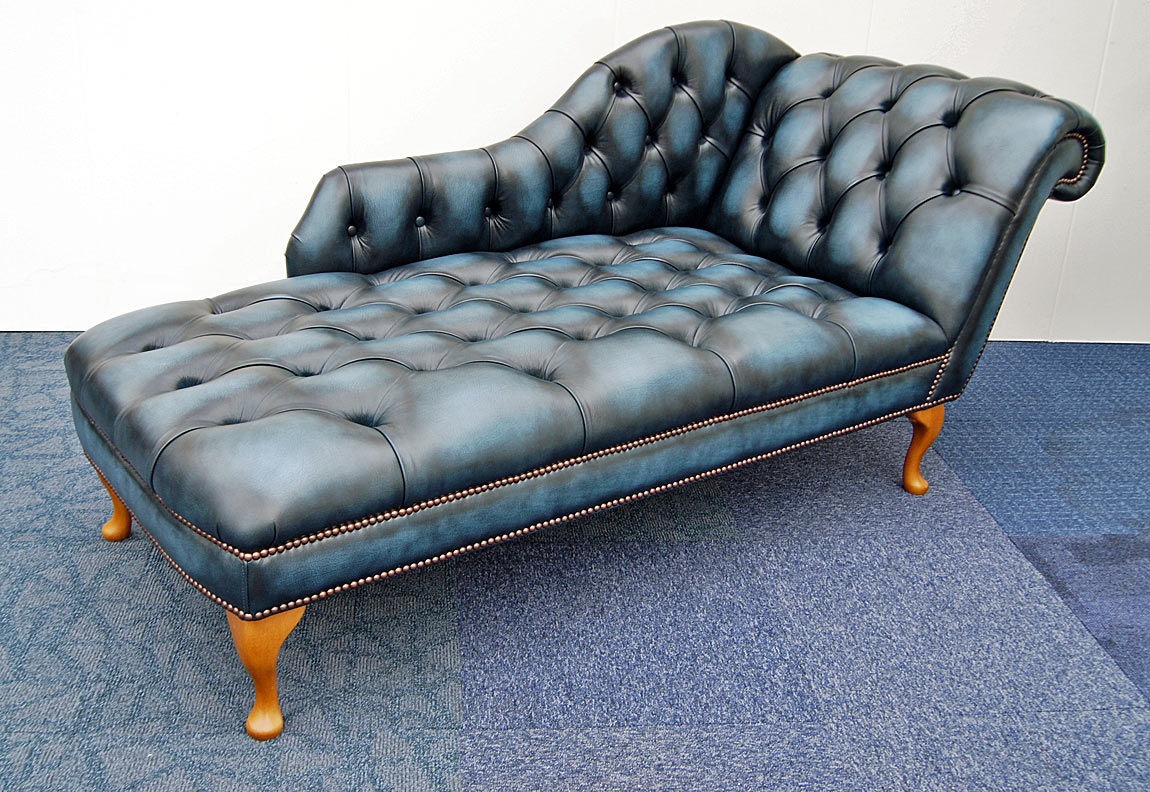 antique blue Chaise Longues with Queen Anne feet