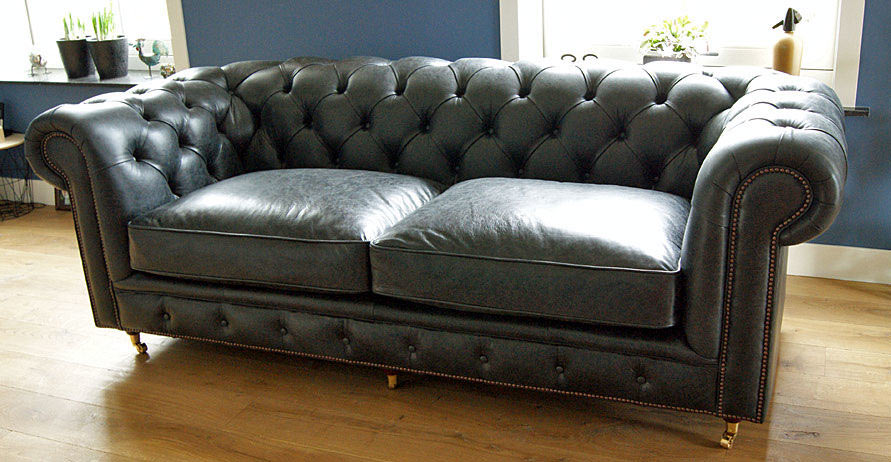 Whitehall Chesterfield Vintage nero leer