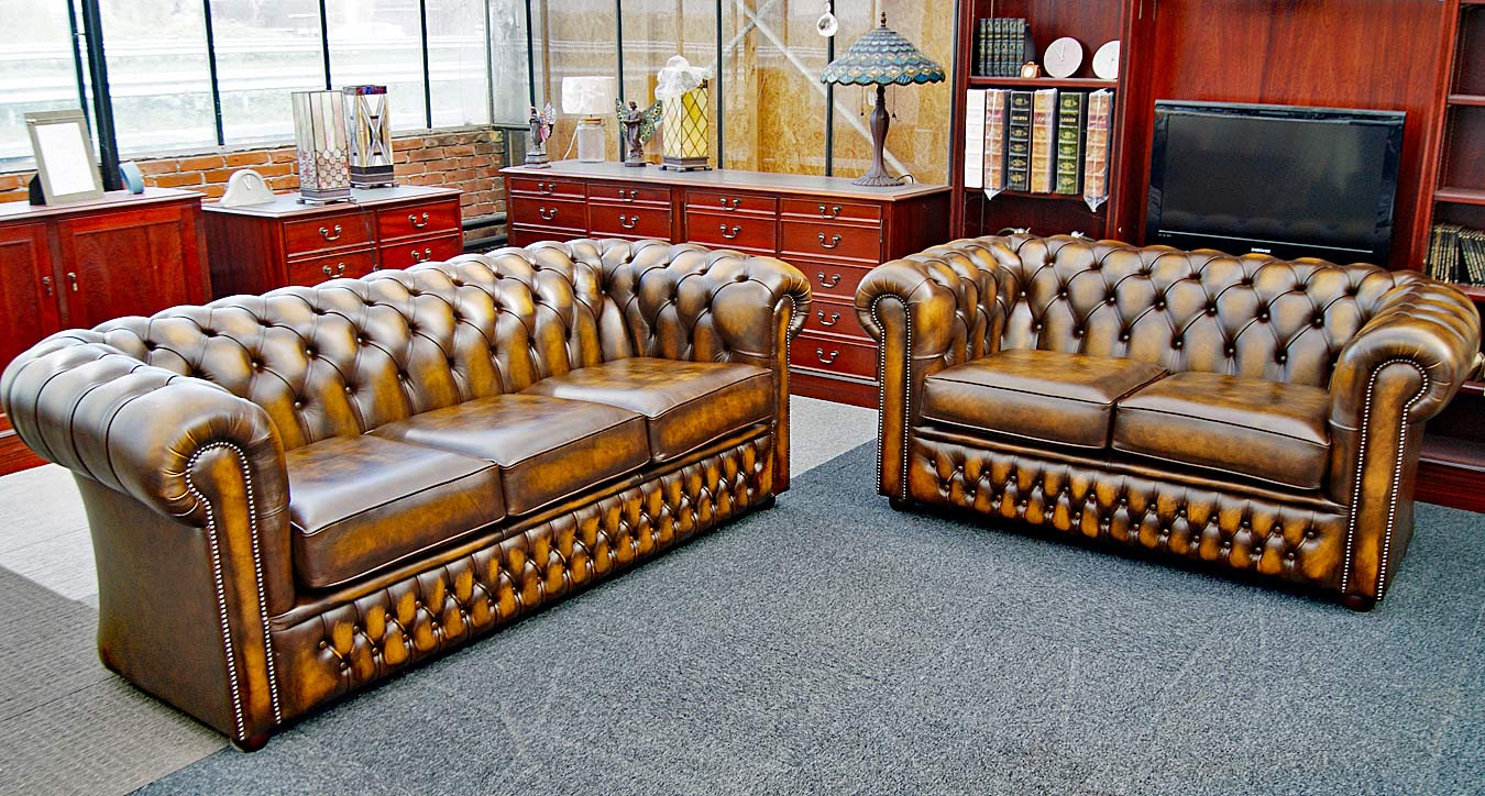Buckingham Chesterfield zit hoek,- antique gold leather