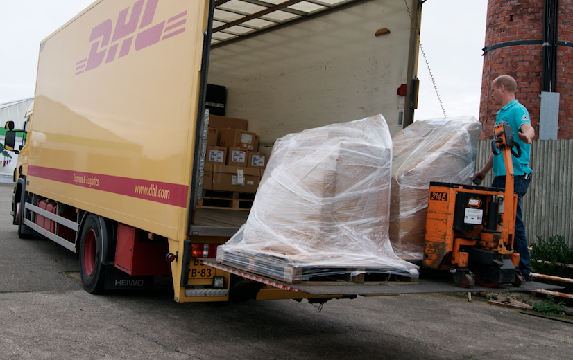 DHL collecting palleted chairs for Austria