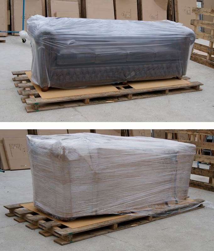 Chesterfield auf Palette verpackt,- English Decorations palleted transport