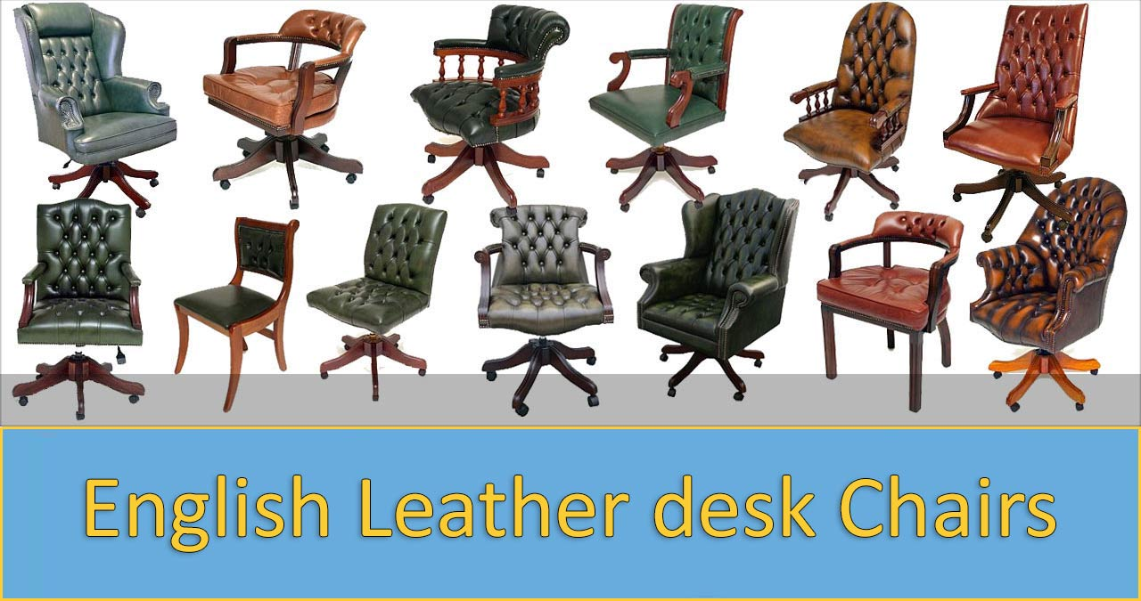 Classic English leather swivel chairs
