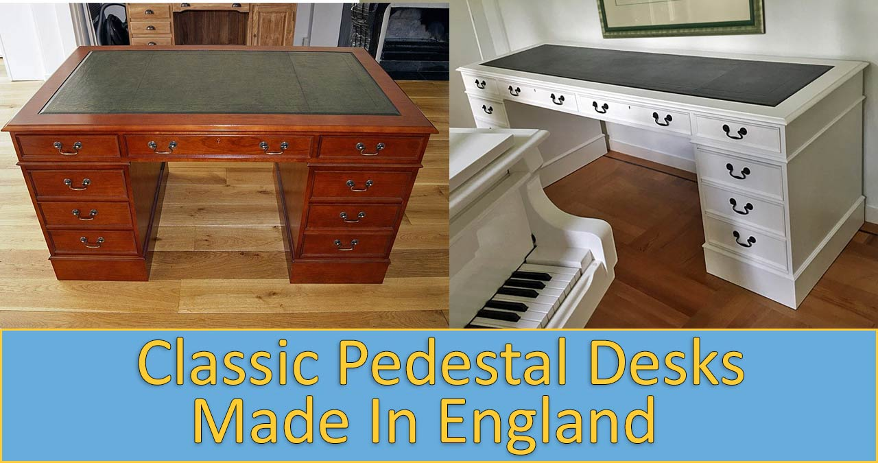 English leather top pedestal desks