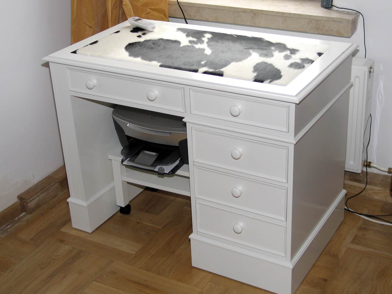 Cow hide white painted desk