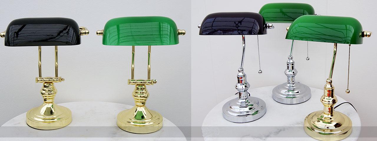 Bankierslampen en engelse bureaulampen