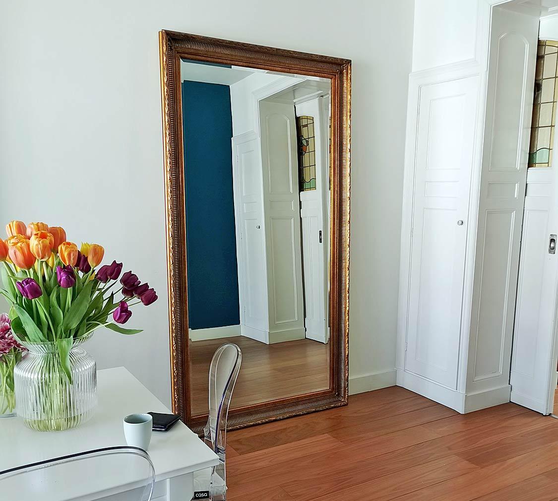 Grote staande spiegel Creta antiek goud