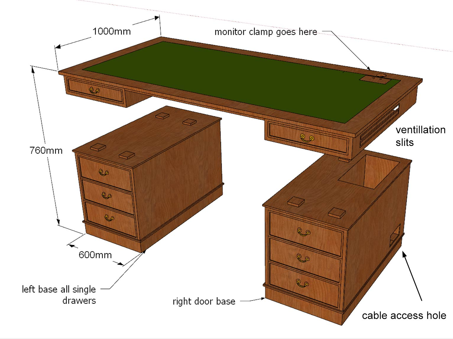 drawing for made to measure computer desk