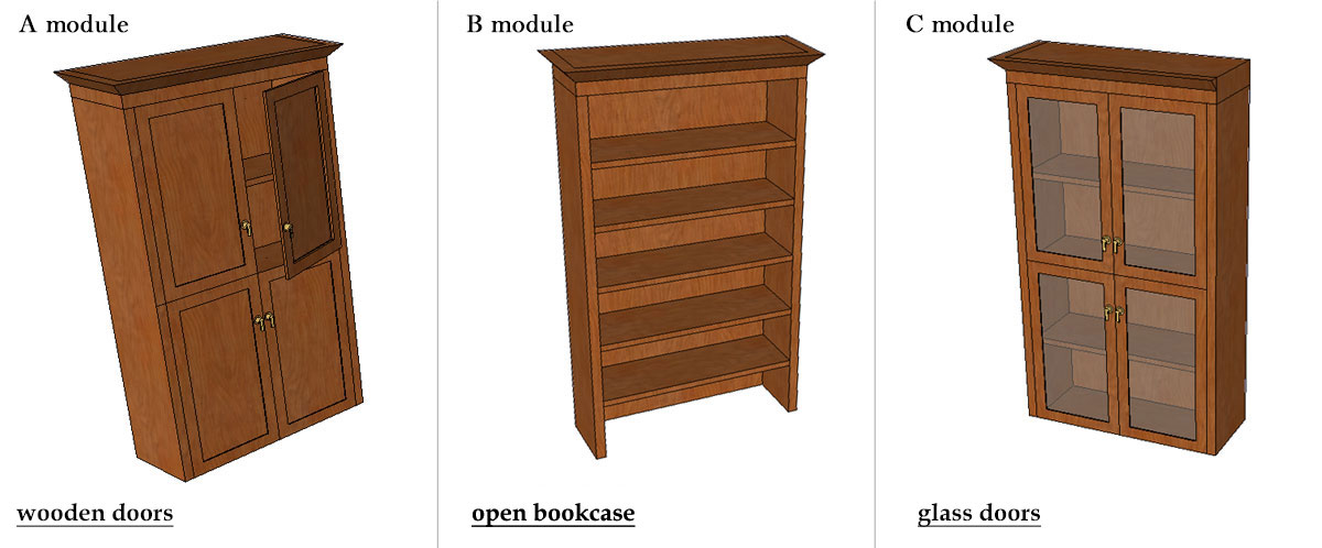 top section module bookcases
