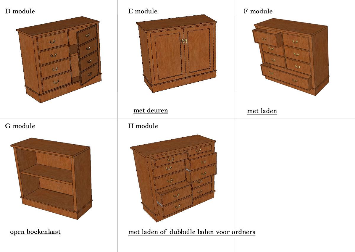 onderkant modules boekenkasten