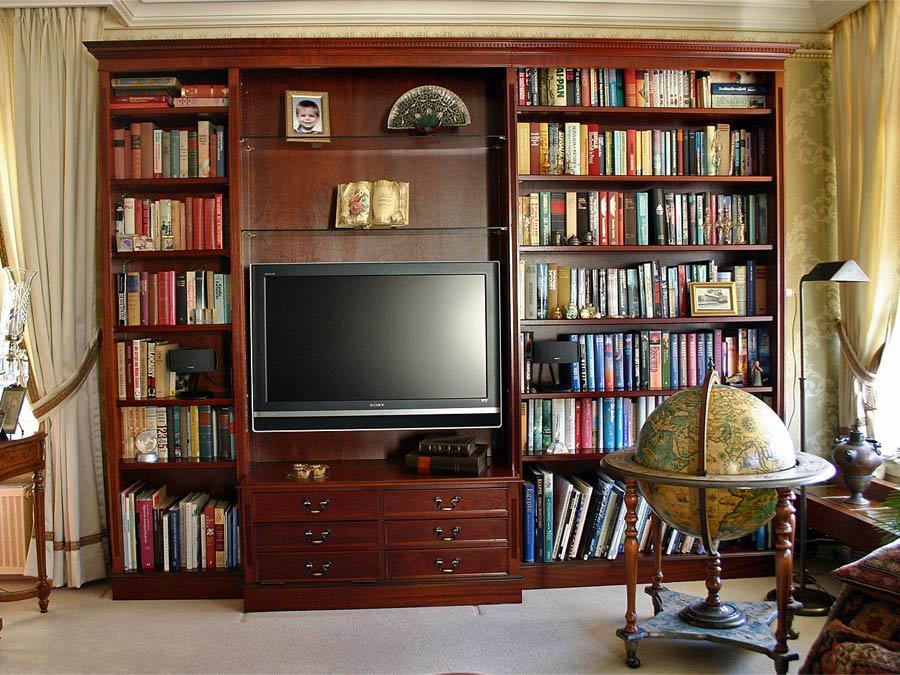 mahonie tv boekenkast op maat