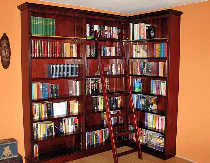 open mahonie hoek boekenkast