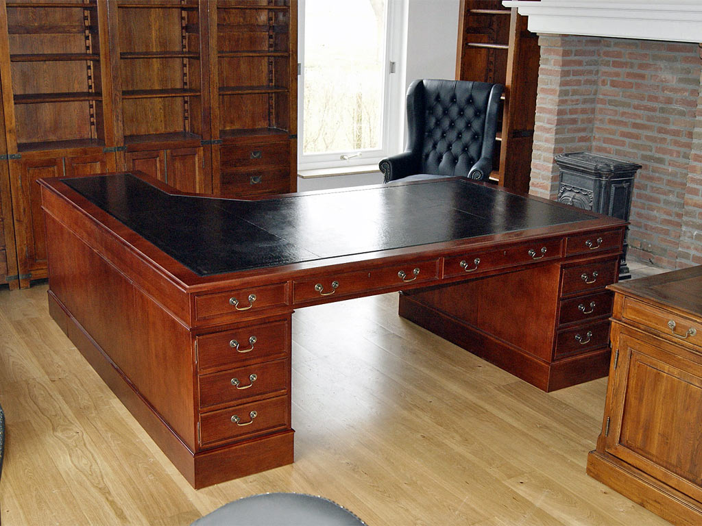 oak corner desk black leather