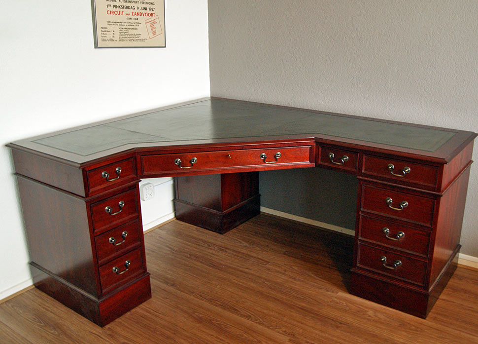 Mahogany corner desk with diagonal corner