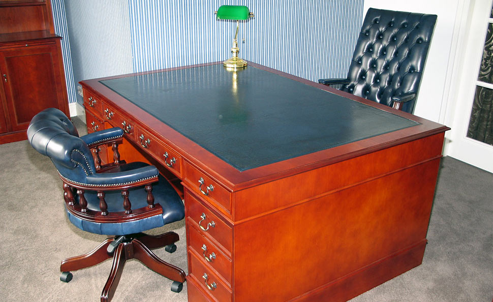 Dark cherry wood partners desk